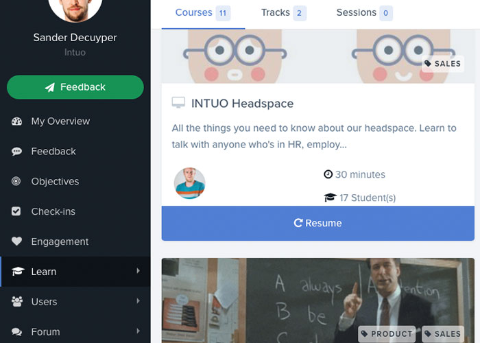 INTUO's E-learning platform